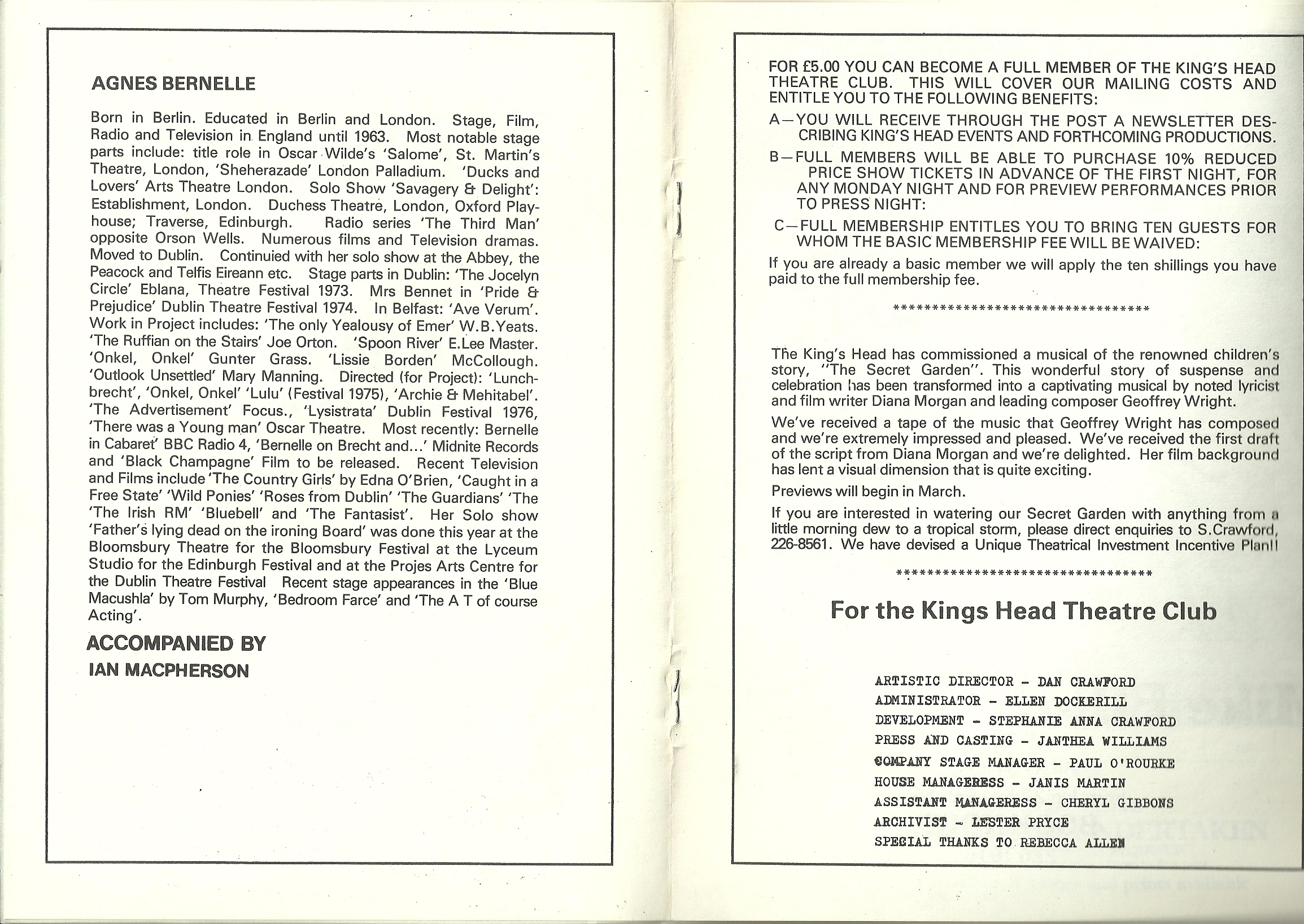 Agnes Bernelle Kings Head Booklet